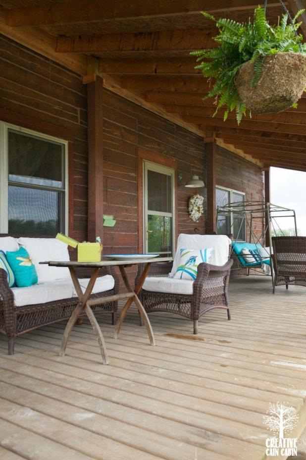 Summer Log Home Turquoise Porch | CreativeCainCabin.com