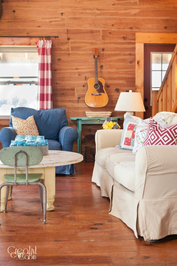 Red White Blue LivingRoom | Patriotic | Flag | Buffalo Check | Denim | Slipcover | Log Home | Wood Floors | CreativeCainCabin.com