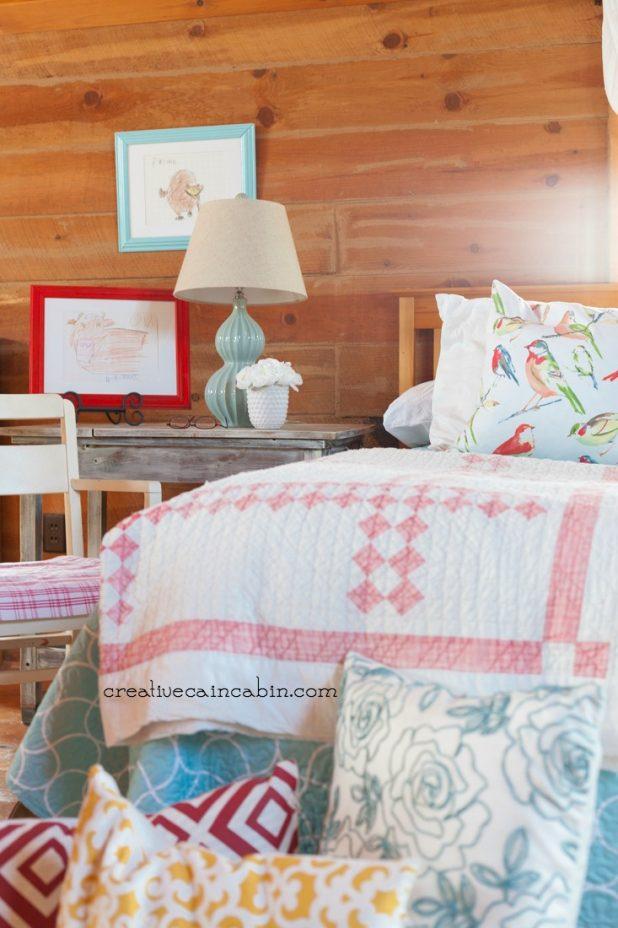 Colorful Bedroom Decor | Jeweled Damask Quitl |Reversible Quilt | CreativeCainCabin.com