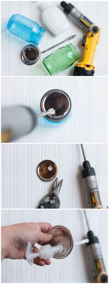 How to Make a Mason Jar Soap Dispenser Without Glue | CreativeCainCabin.com