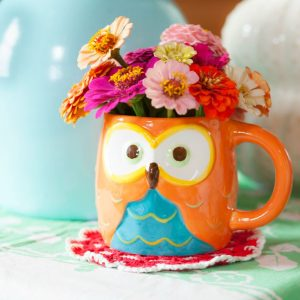 Owl Coffee Mug Used as a Vase for Zinnias   CreativeCainCabin.com