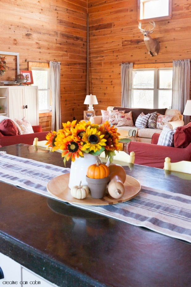 Fall Log Home Living Room Tour Using Rust, Gray, Brown, Yellow, and Pops of Turquoise