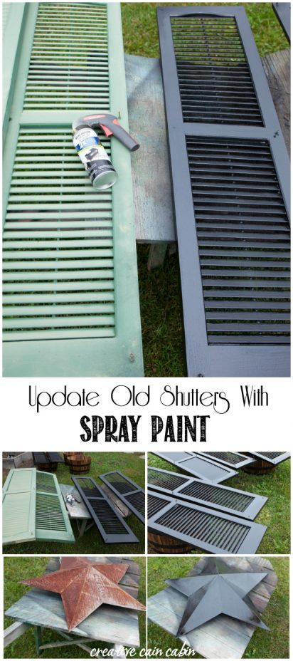 Why Purchase New House Shutters When You Can Update Them Using Spray Paint for Under $20. Spray Paint Can Change The Look of The Whole Home and Give It a Fresh New Look. CreativeCainCabin.com