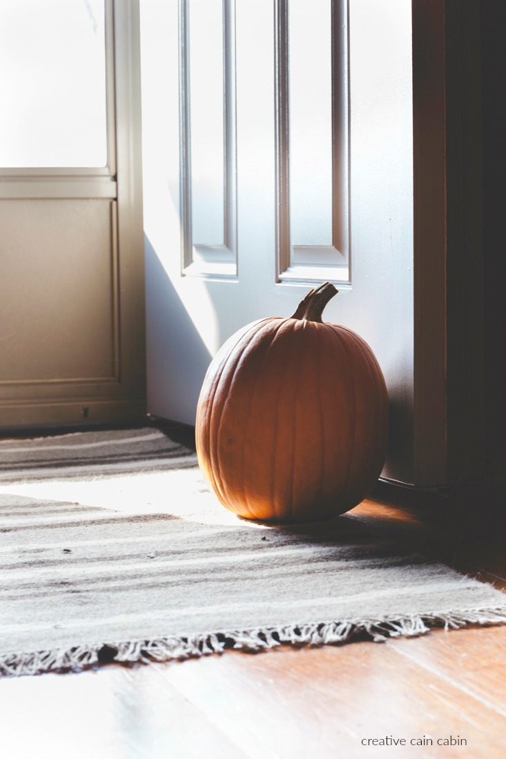 Use a Pumpkin in Fall as a Door Stop & Use a Pumpkin in Fall as a Door Stop - CREATIVE CAIN CABIN