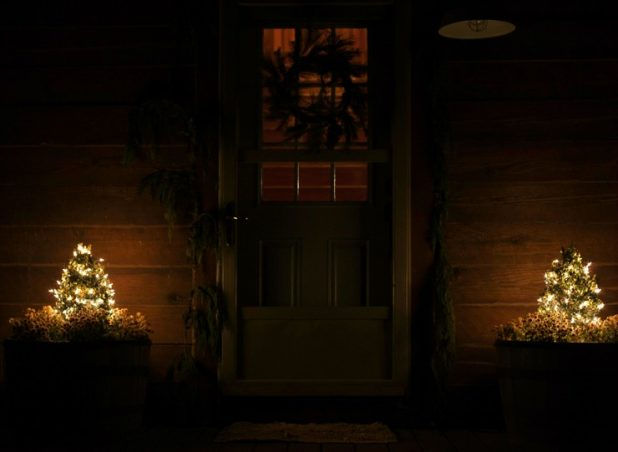 Christmas Cabin at Night