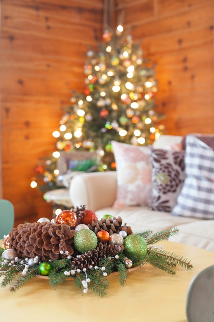 Christmas Tree Decorated with Green, Rust, Blush, Silver, and Gold Ornaments