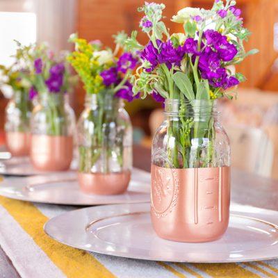 Copper Bottom Mason Jar Flower Vase