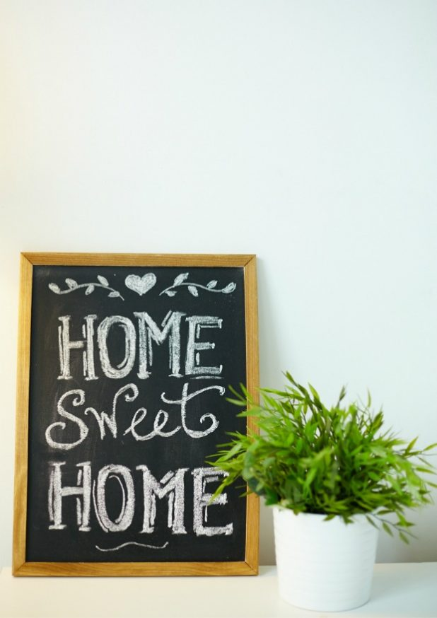 Home Sweet Home Chalkboard Sign and Potted Fern
