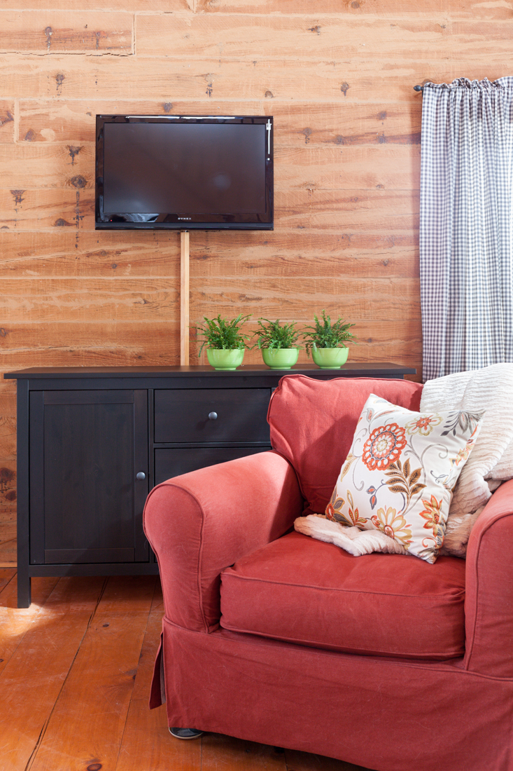 ikea hemnes sideboard and tv mounted on the wall - creative cain cabin
