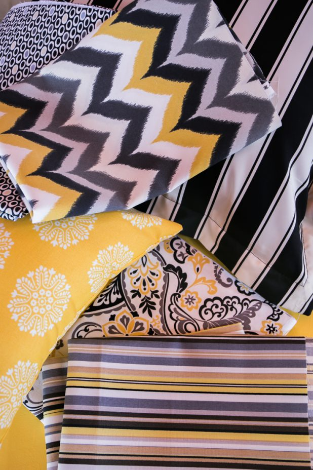 Fabric in Gray, Black, White and Yellow