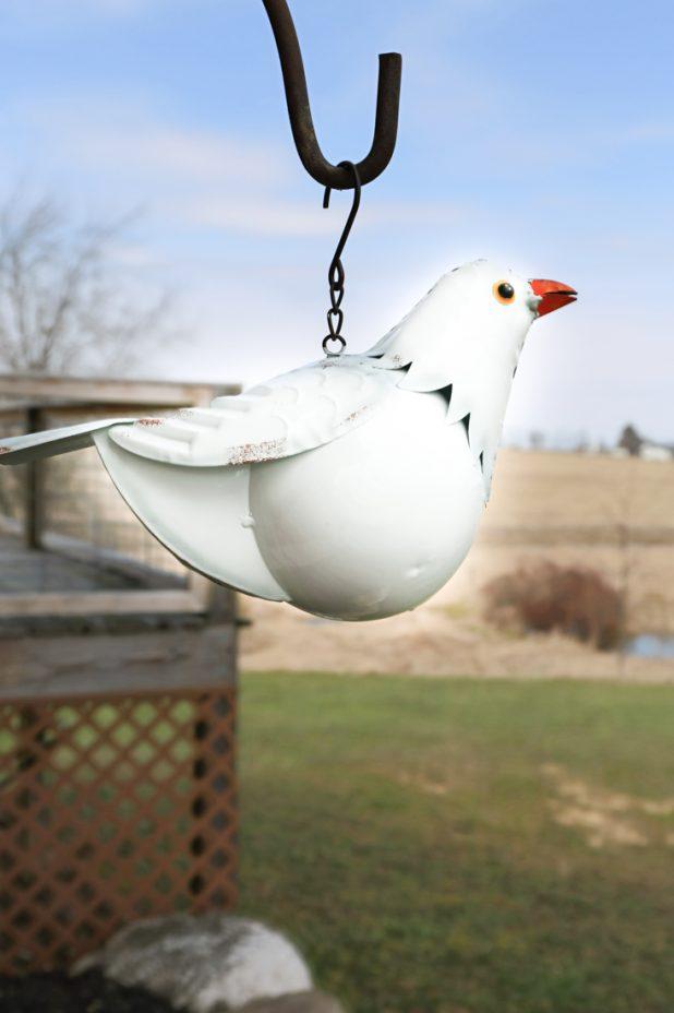 White Pigeon Bird Feeder