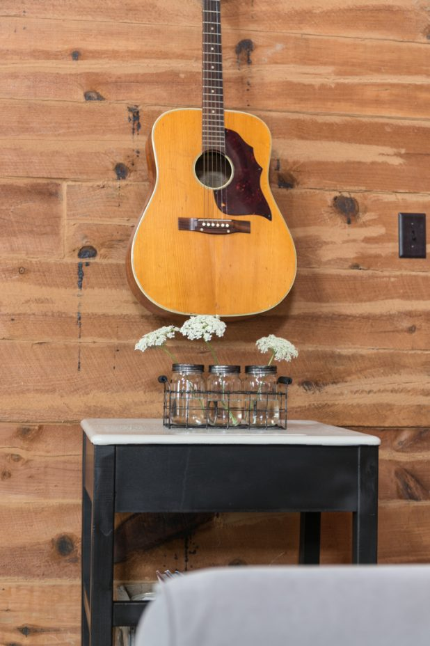 Guitar and an Old School Desk with Queen Ann's Lace