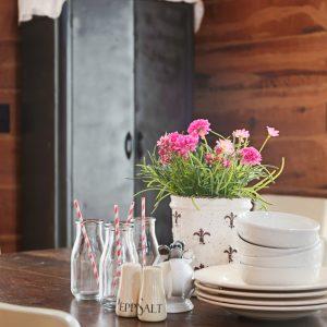 Spray Painted Dining Room Cabinet With Dark Walnut