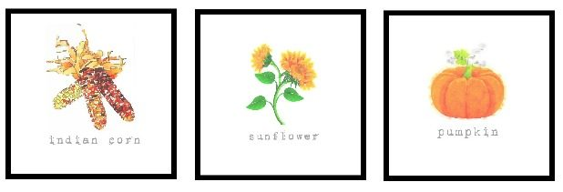 Fall Watercolor Printables, Sunflower, Indian Corn, Pumpkin, Artwork