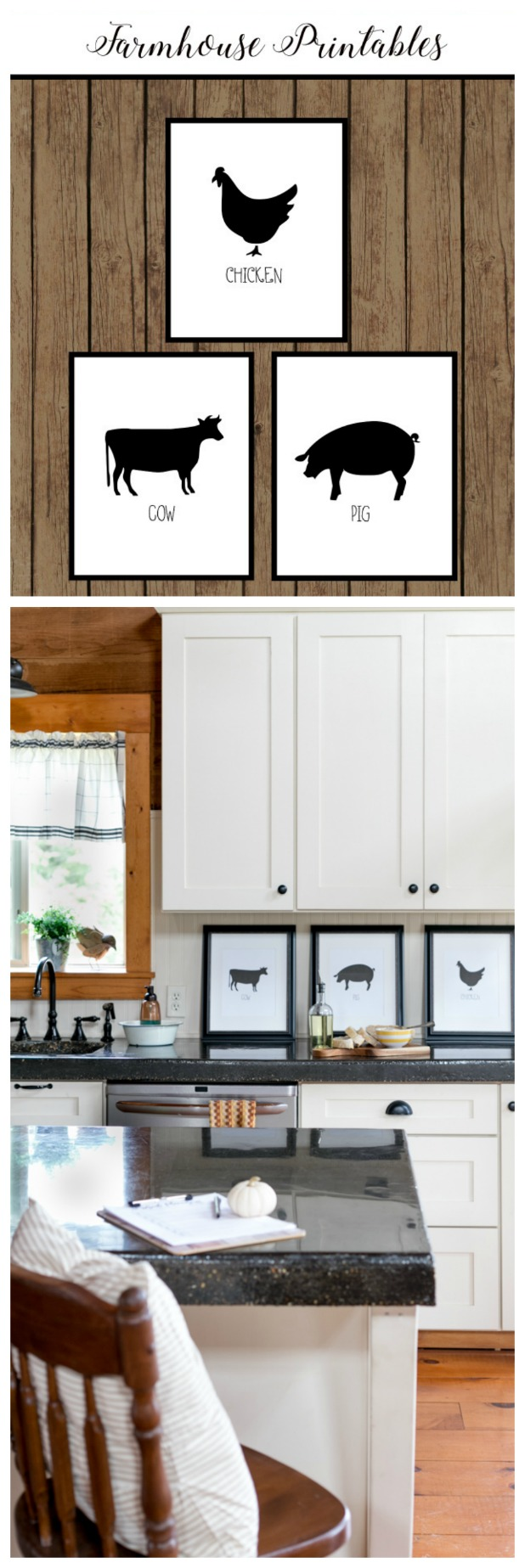Free Farmhouse Printables, Chicken, Cow, Pig