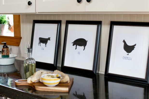 Free Farmhouse Printables, Chicken, Cow, Pig