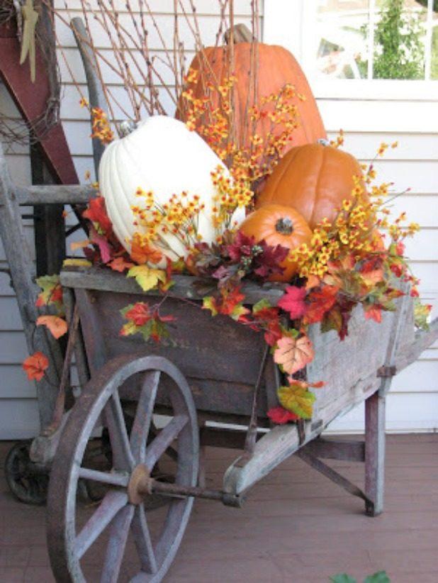 Ways to Decorate a Garden Cart or Wheelbarrow For Fall. Popular Pin