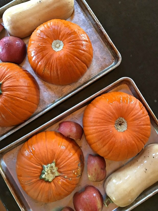 Roasted Pumpkin, Squash, and Apples For Autumn Squash Soup
