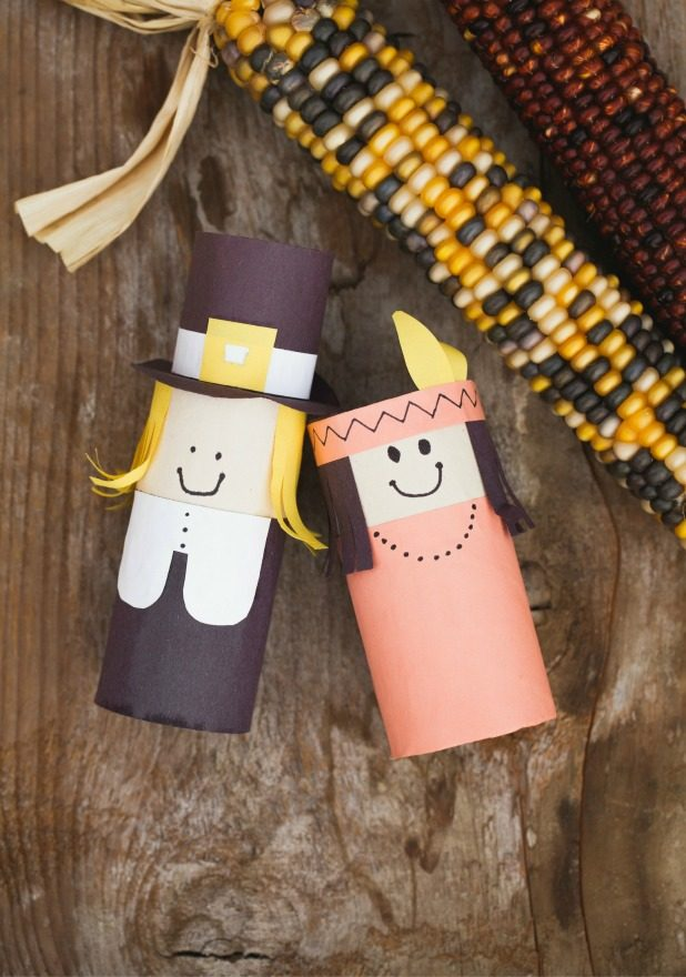 Thanksgiving, Pilgrim, Indian, Indian Corn, Toiled Paper Roll Crafts