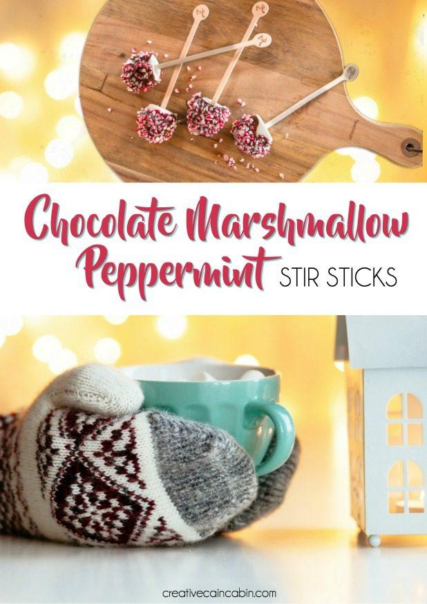 Chocolate Marshmallow Peppermint Stir Sticks For Hot Chocolate