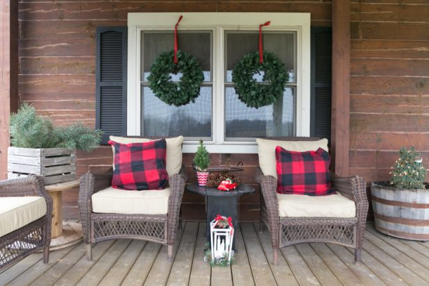 Christmas Porch Tour Of A Rustic Log Home Using Buffalo Check Fabric in Red and Black