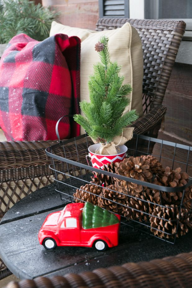 Buffalo Check Fabrid, Christmas Porch, Ornaments, Pinecones, Mini Christmas Tree