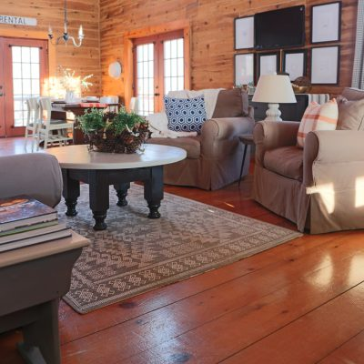 Winter Living Room in Navy Blue and Rust