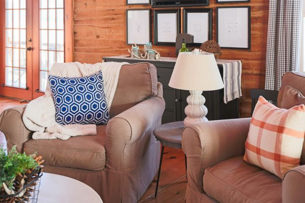 Winter Living Room Using Navy Blue and Rust
