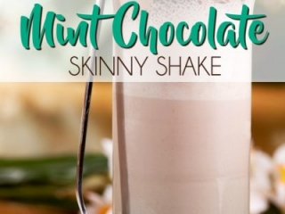 Mint Chocolate Skinny Shake Made With Chocolate Vegan Shakeology Mix and Young Living Peppermint Essential Oil. Only 170 Calories and Tastes Delicious.