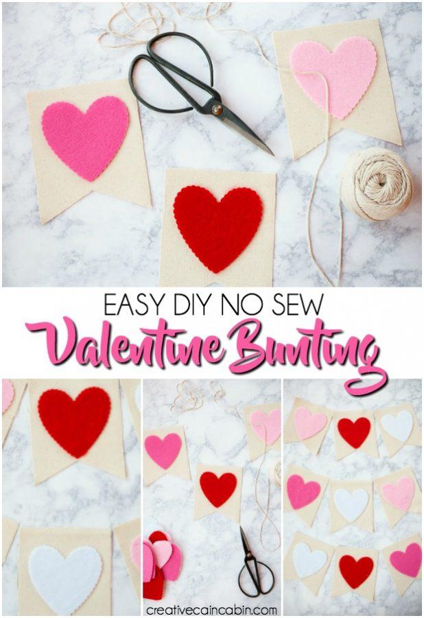 Easy No Sew Valentine Bunting