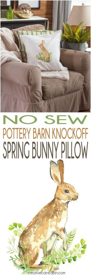 No Sew Pottery Barn Knockoff Spring Bunny Pillow, Downloadable Bunny Transfer Included.