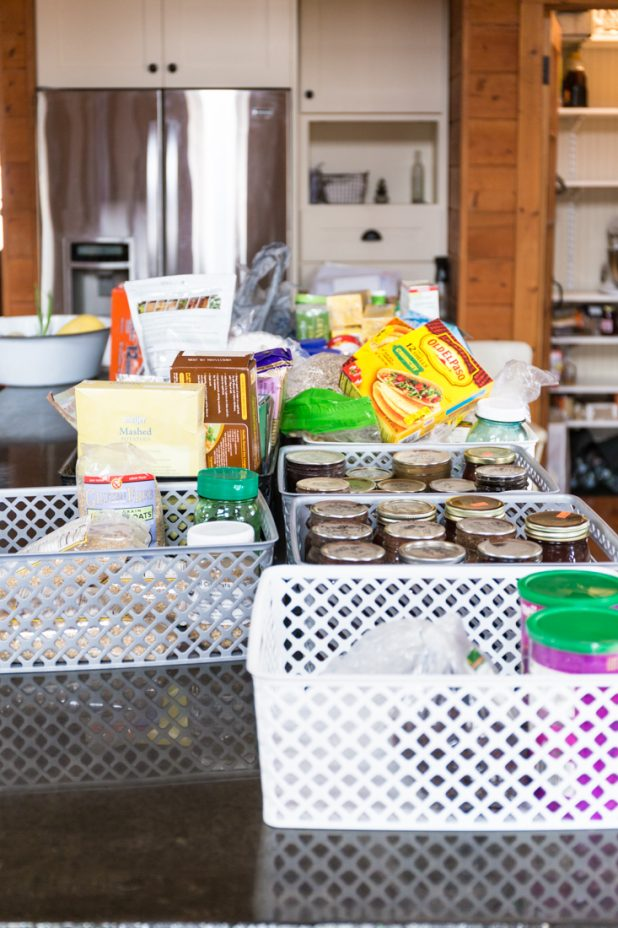 Pantry Items Unloaded Onto Kitchen Island
