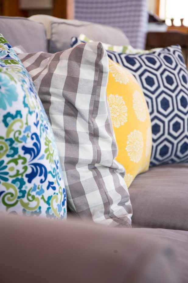 Pillow Fabrics in Green, Gray, Blue and Yellow