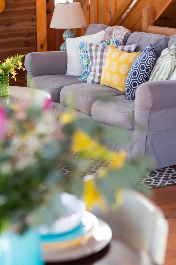 Spring Tour of a Log Home Using Slipcovered Furniture Green's Blue's and Pops of Yellow