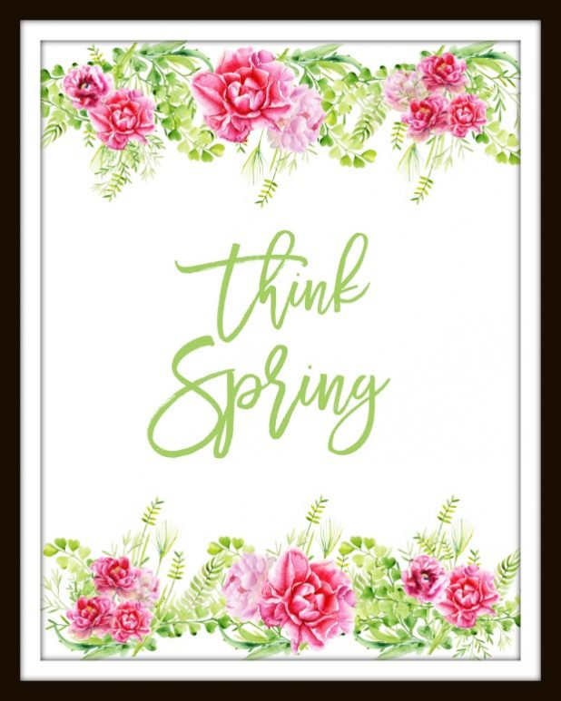 Think Spring Watercolor Printable in Green