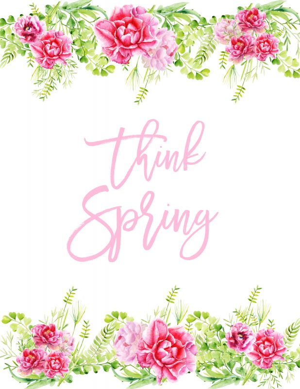Think Spring Watercolor Printable in Pink