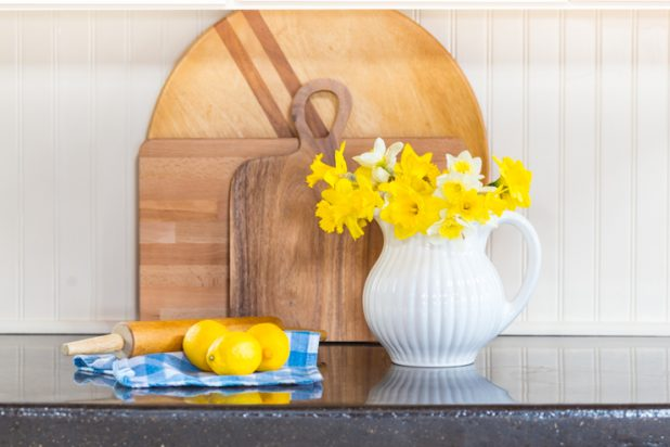 Beadboard, Vintage Cutting Boards, Gingham Tea Towel, White Pitcher, Daffodil Blooms, Concrete Countertop, Spring