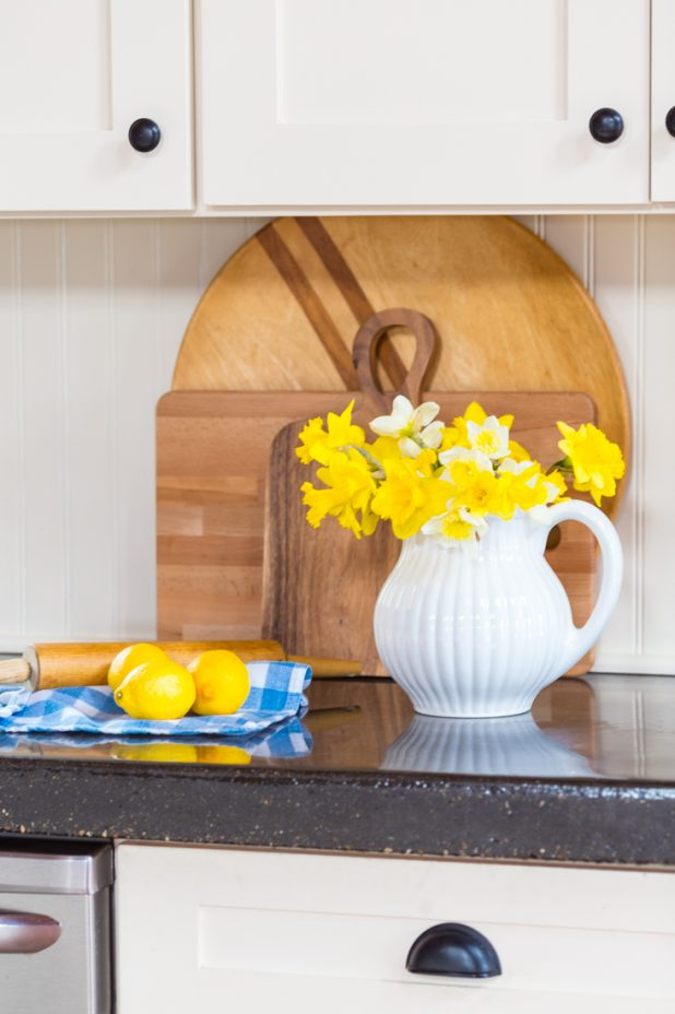 Daffodil Blooms, Spring, Floral Arrangement, White Pitcher, Beadboard, Concrete Countertops, Vintage Cutting Borards