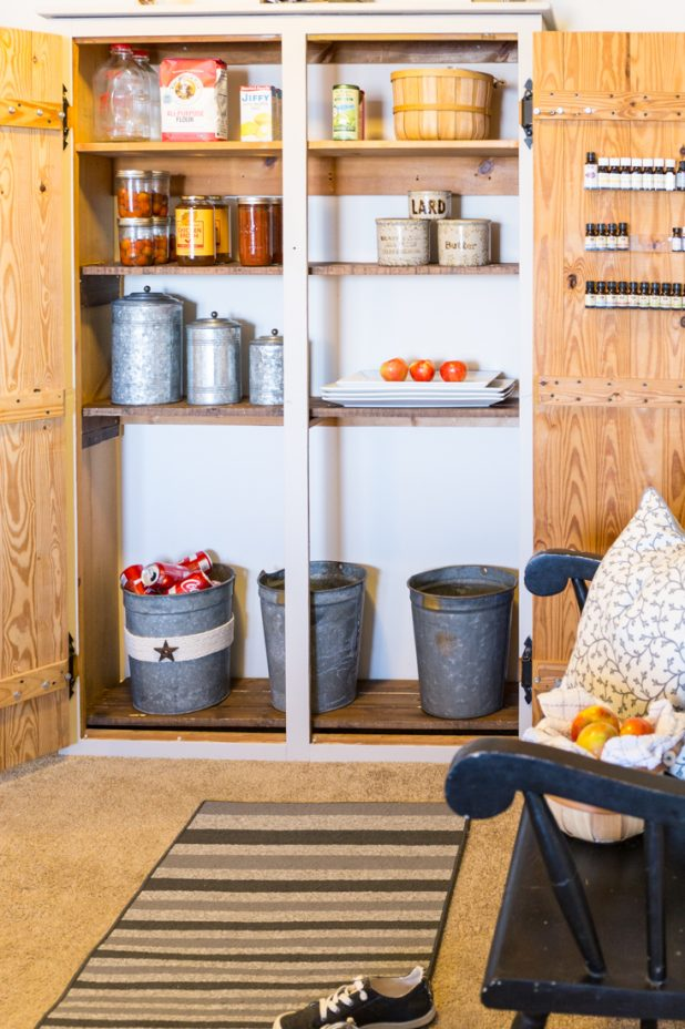 How to Turn a Free Standing Pine Coat Closet Into a Pantry