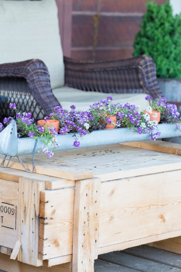 Turn an old galvanized chicken feeder into a flower planter, add clay terra cotta pots and candles for ambiance. Use and old shipping crate as a rustic coffee table
