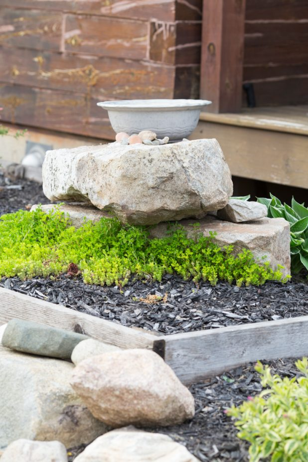 DIY Birdbath Made From Natural Stone and a Large Pewter Bowl