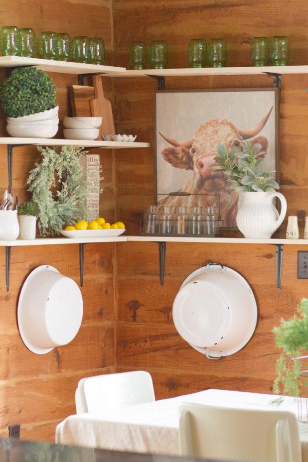 Open Farmhouse Shelves, Cow Print, White Decor, Mason Jars, Wreaths, Farmhouse Style Decor