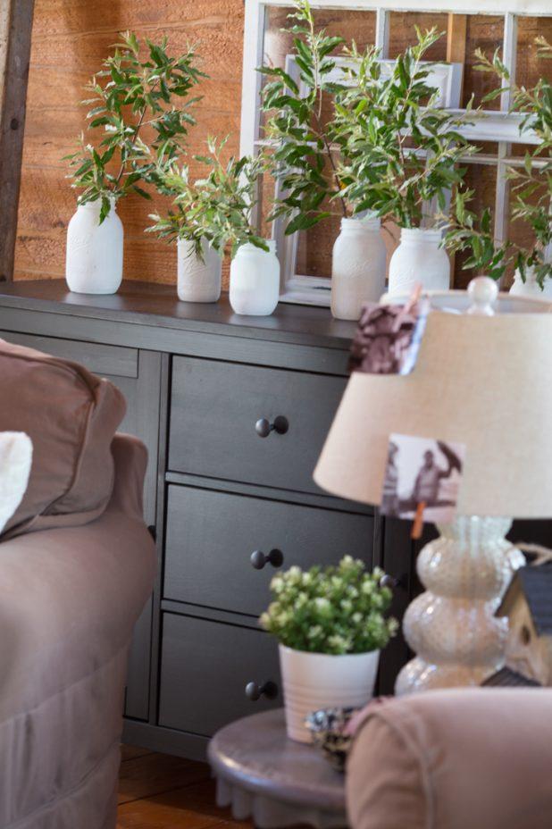Magnolia Interior Fixer Upper Chalk Paint in Shiplap on Mason Jars