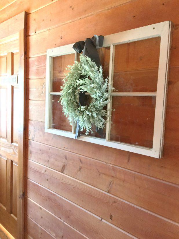 Old Farmhouse Style Window and Wreath