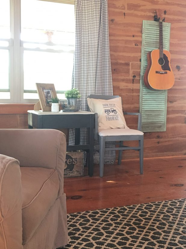 Farmhouse Log Home Decor Inspired by Sea Glass Using Magnolia Market Fixer Upper Paint to Get The Perfect Paint Color on This Salvaged Shutter