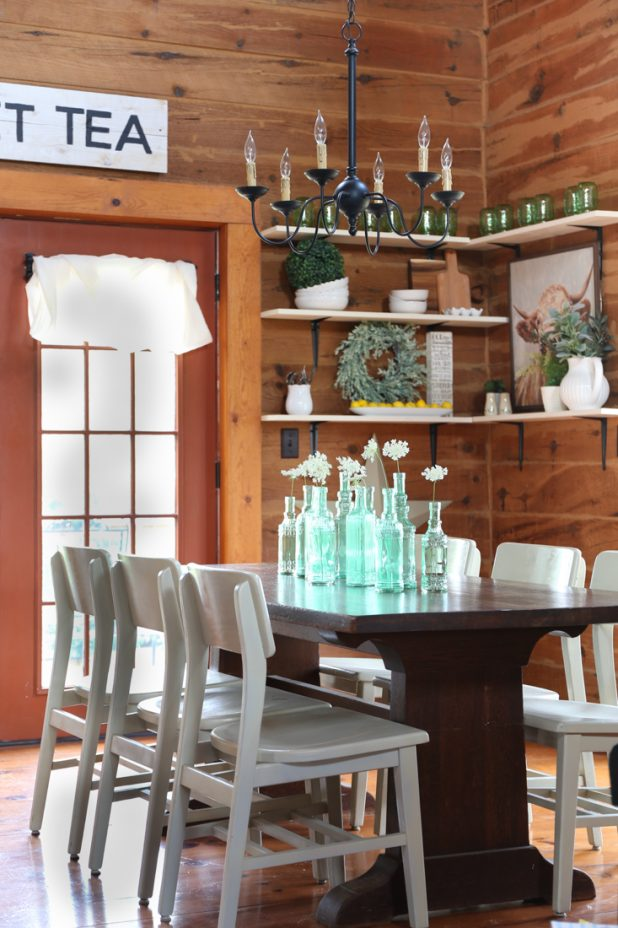 Green Sea Glass Farmhouse Table Centerpiece, Rustic Decor, Fixer Upper Style, Open Shelves, and a Cow Print