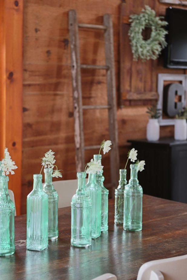 Sea Glass Green Glass Centerpiece, Rustic Farmhouse Decor