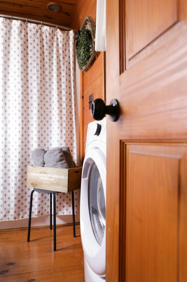 Rustic Farmhouse Guest Bath Makeover That Incorporates the Washer and Dryer