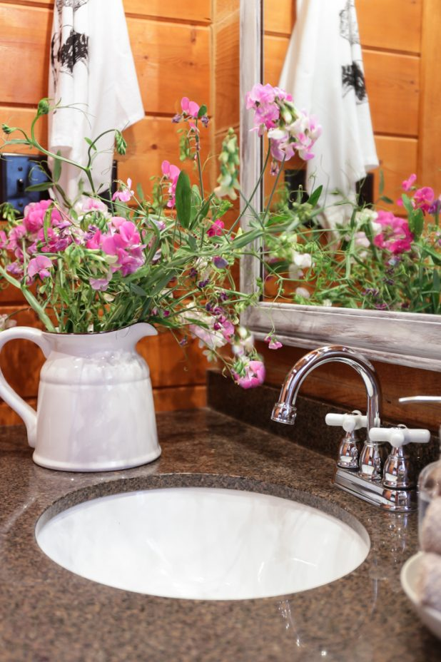 Guest Bath Rustic Farmhouse Makeover, Granite Countertops, Enamelware Filled With Wildflowers, Cage Lights, A Garage Sale Mirror Transformed