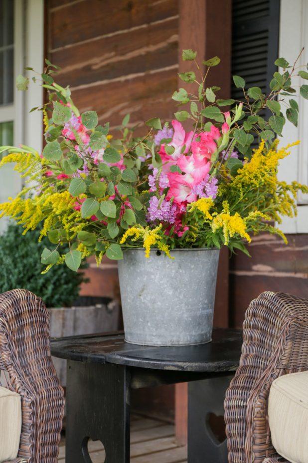 Rustic Galvanized Bucket Floral Arrangement
